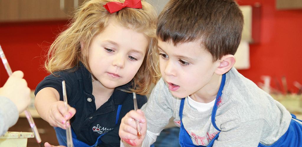Preschool Kids Painting in Art Class
